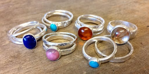 Beginners Cabochon Stone Set Silver Ring