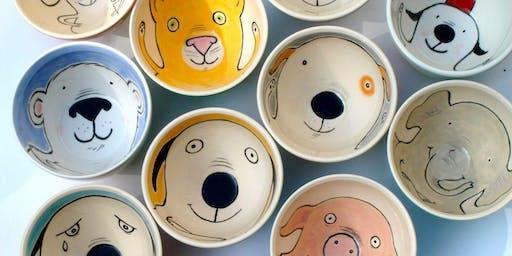 Sip & Create Ceramics Glaze your own Pampered Pet Bowl