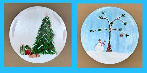 """Adult Open Paint (18yrs+) """"Design Your Own Snow Globe"""" Wood Round or Canvas"""