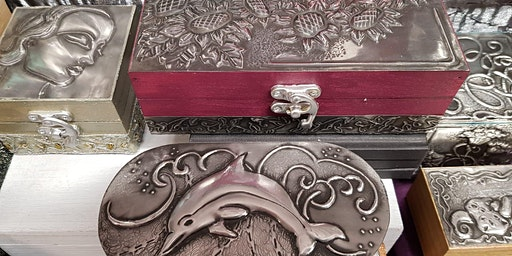 Embossed pewter box workshop