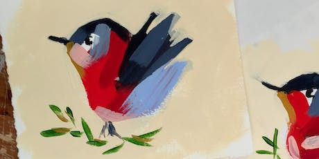 """Acrylic Painting Workshop """"Robin"""" Christmas Ornament and Painting Class,  Artist's Studio, Oakville, Bronte  tickets"""