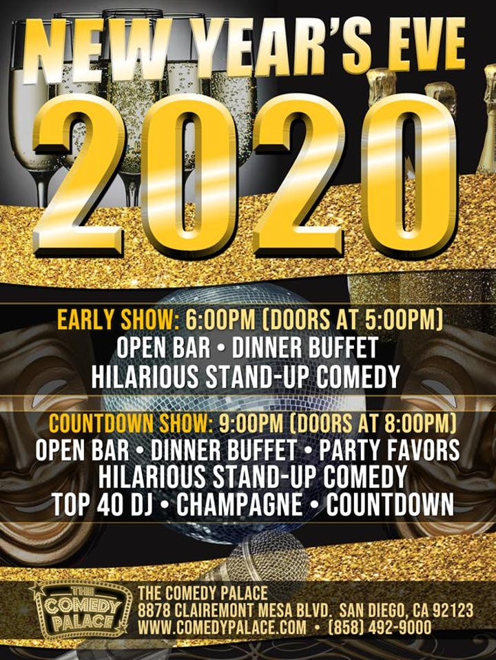 Best Stand Up Comedians 2020.New Year S Eve San Diego 2020 Dinner Open Bar Comedy