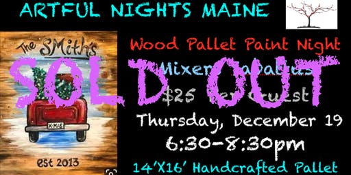 Wood Pallet Red Truck Paint Night