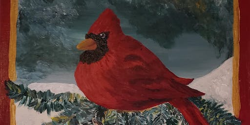 Cardinal on 14x14 Stretched Canvas