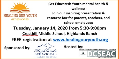 Youth Mental Health Educational Event January 14, 2020 tickets