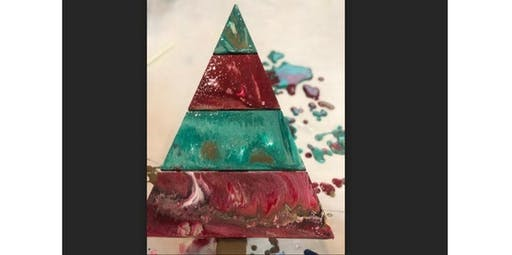Holiday Pour Painting-Wood Christmas Trees  (12-11-2019 starts at 6:00 PM)
