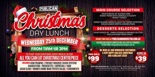 Christmas Day Lunch at Publican, Mornington!