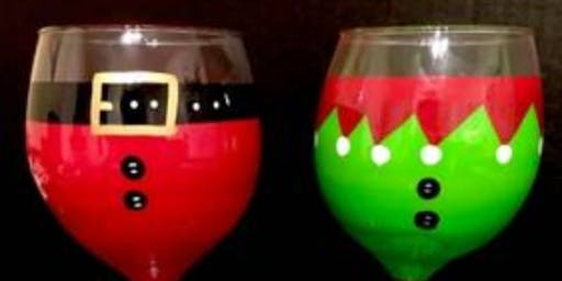Christmas Wine Glass Painting