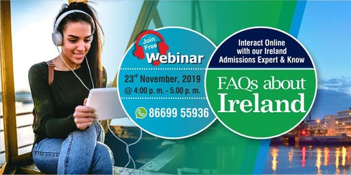 Attend Free Webinar on Higher Education in Ireland - 23rd Nov 19