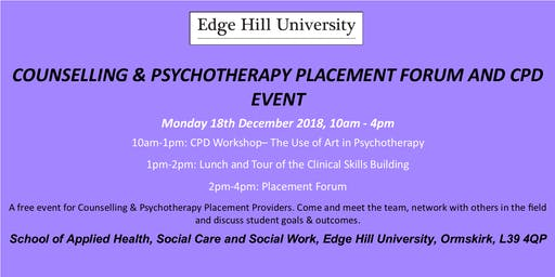 Counselling and Psychotherapy Placement Forum and CPD Event