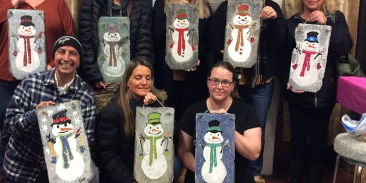Girls Night Out! Snowman Slate Paint Party Sammy's Pizza in Muncy