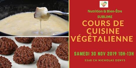 Cours de cuisine végétalienne (fondue au fauxmage et...) billets
