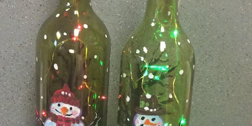 Lit Snowman Bottle Paint Party at Don Patrons