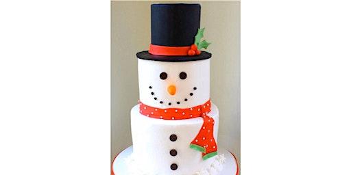 Mini Three Tier Snowman Adult cake decorating class