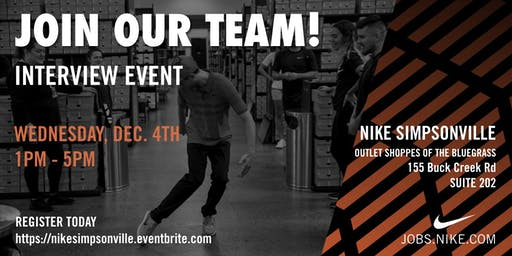 Interview Event @ Nike Louisville (Simpsonville)