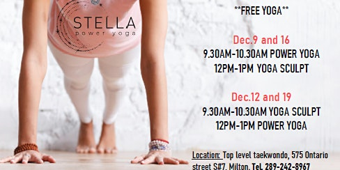 FREE MORNING YOGA classes in December..Lets get ready for 2020!!