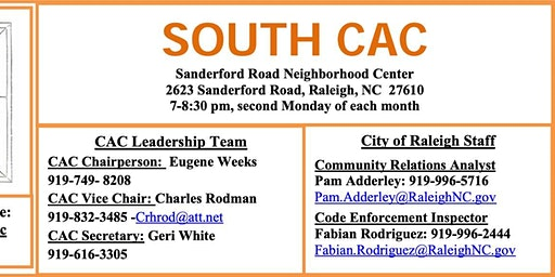 South Raleigh Citizens Advisory Council Meeting