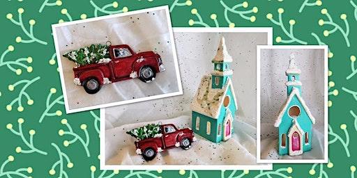 Christmas Tree Ornament w/ Church Votive Paint Class