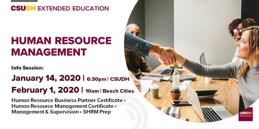 Info Sessions: Human Resources Management Programs | CSUDH Beach Cities