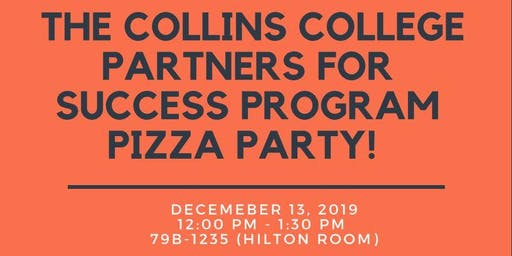 Collins College Partners for success program pizza party