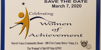 Women of Achievement 2020 - The Woman's Club of Vista GFWC