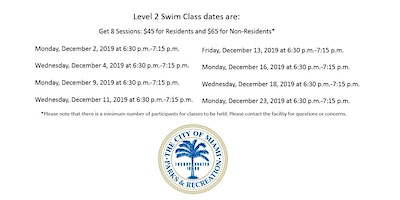 Shenandoah Pool Level 2 Swim Class Monday/Wednesday (6:30 p.m.-7:15 p.m.)