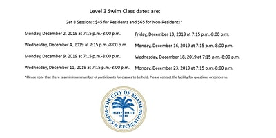 Shenandoah Pool Level 3 Swim Class Mondays/Wednesday (7:15 p.m.-8:00 p.m.)