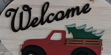 Old Truck Welcome Sign with interchangeable Holiday shapes tickets