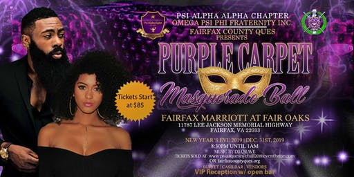 "New Year's Eve ""Purple Carpet"" Masquerade Ball 2019 (Fairfax County Ques)"