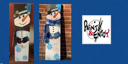 """Paint and Enjoy at Delta Pizza """"3ft Snowman"""" on wood"""