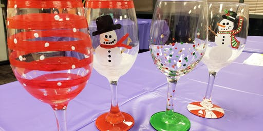 Holiday Wine Glass Painting at Peacock Wine Bar