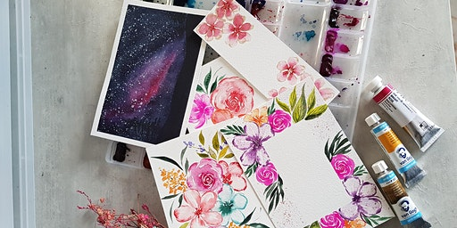 Watercolour Florals and Brush Lettering Course-  Feb 8 - Mar 28(Sat)