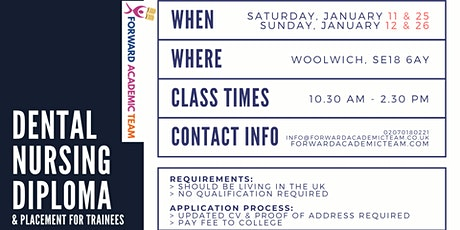 Dental Nursing Diploma/Courses in Woolwich - January 2020 tickets