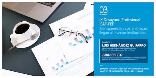 IX Desayuno Profesional IEAF-FEF