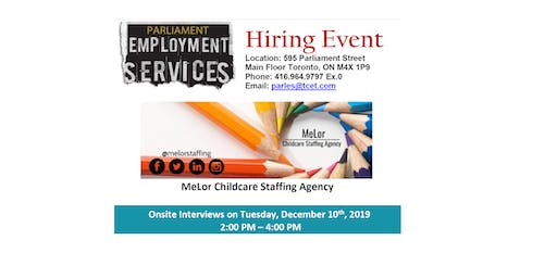 HIRING EVENT: MeLor Childcare Staffing Agency