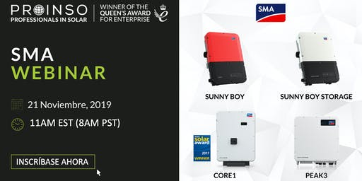 PROINSO Seminario Web SMA América – Sunny Boy / Sunny Boy Storage / CORE1 / PEAK3