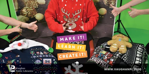 Ugly Sweater Photo Shoot at Pierre Berton Resource Library