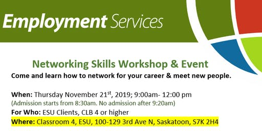 Special Opportunity! Networking Skills Workshop & Event