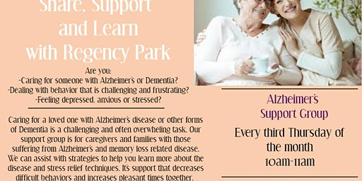 Share, Support and Learn with Regency Park - Alzheimer's Support Group
