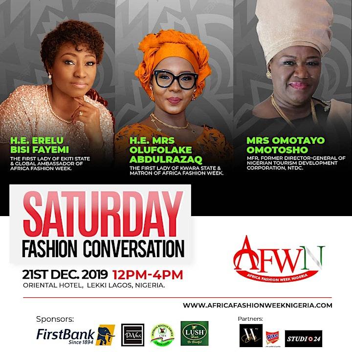 Africa Fashion Week Nigeria presents The Fashion Conversation with  H. E Erelu Bisi Fayemi, First Lady of Ekiti, H. E Olufolake Abdulrasaq and Mrs Omotayo Omotosho