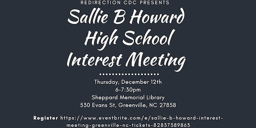 Sallie B Howard Interest Meeting (Greenville NC)