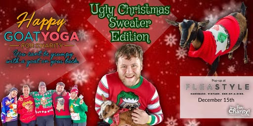 Happy Goat Yoga: Ugly Christmas Sweater Edition! at Flea Style Dallas
