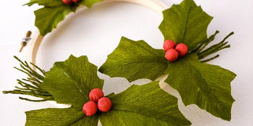 Crepe Paper Holly Wreath Workshop