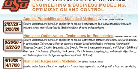 Engineering/Business Modeling, Optimization &Control-Nonlinear Optimization tickets