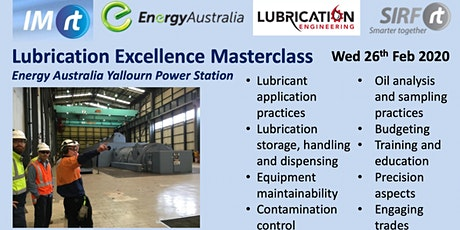 VICTAS Master Class - Lubrication Excellence Energy Australia Yallourn Power Station tickets