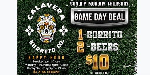 Game Day at Calavera Burrito Co.