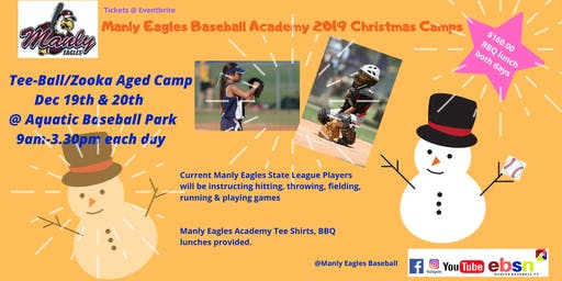 Manly Eagles Baseball Academy 2019 Christmas Camps - TeeBall/Zooka Aged Camp