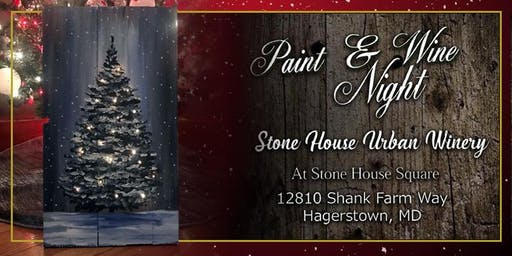Paint Event at Stone House Urban Winery Tree with Lights