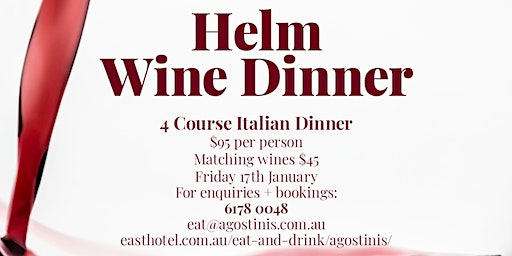 Helm Wine Dinner - SOLD OUT