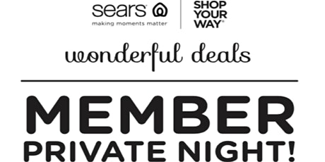Sears Member Black Friday Sale Event November 24th tickets